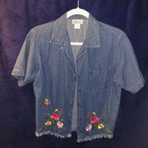 Denim Button Down Short Sleeve Top